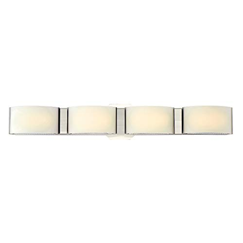 Eurofase Dakota White Marble Glass 4 LED Bathbar, Satin Nickel Finish, 27 Inches Wide-Model 30091-023