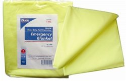 Dukal 7303 Emergency Blanket, Yellow, Non-Sterile, 54'' W x 80'' L (Bag of 50) (Pack of 50)