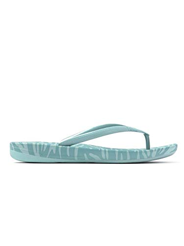FitFlop Womens iQushion Ergonomic Flip Flop Shoes, Aqua Tiger Print, US 8.5 ()