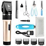 CEENWES Pet Clippers (Upgrade Version) Low Noise Professional Dog Clippers Rechargeable Cordless Pet Clipper Trimmers Pet Hair Grooming Kit with Slicker Brush for Cats Dogs and Other Animals by CEENWES