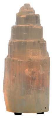 "Carved Selenite Table Lamp 8"""