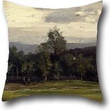 throw cushion covers 16 x 16 inches / 40 by 40 cm(twice sides) nice choice for festival,birthday,kids,teens girls,bf,bedding oil painting Gerhard Munthe - Fields at Hedmark in Summer