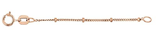 14K Rose Gold Beaded Curb Chain Necklace Extender Safety Chain 1.00mm