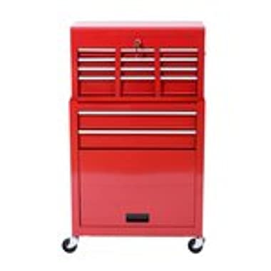 HomCom Rolling Tool Cabinet with 6 Drawer and Removable Tool Box - Red