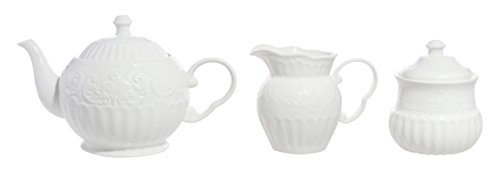 Beautiful Decorative Victorian White Ceramic Tea Service 3-piece Set with Teapot, Milk Jug, Sugar Bowl