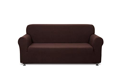1 Piece-Love Seat/2 Seater Sofa Slipcover Polyester Spandex Jacquard Fabric Stretchable Home Motel Resort Rentals and Commercial use, Fits Back of Furniture from 57 to 70 inch Wide, Chocolate Color