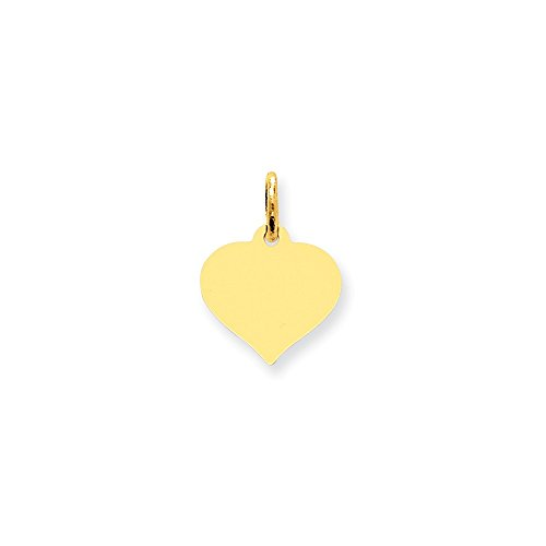 10K Yellow Gold Engravable Gauge 0.016 Heart Disc Charm