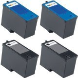 4-Pack (2BK+2C) Series 7 Remanufactured Hi-Yield Ink for Dell CH882 CH883 All-in-One 966 / 968 / 968w Printer