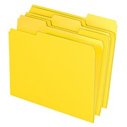Office Depot(R) Brand Color File Folder, 8 1/2in. x 11in., Letter Size, Yellow, Box Of 100
