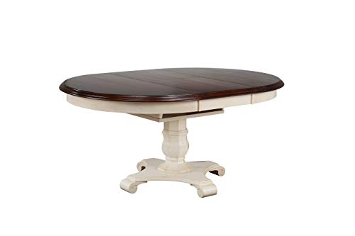 Sunset Trading DLU-ADW4866-AW Andrews Dining Table, Antique White and Distressed Chestnut