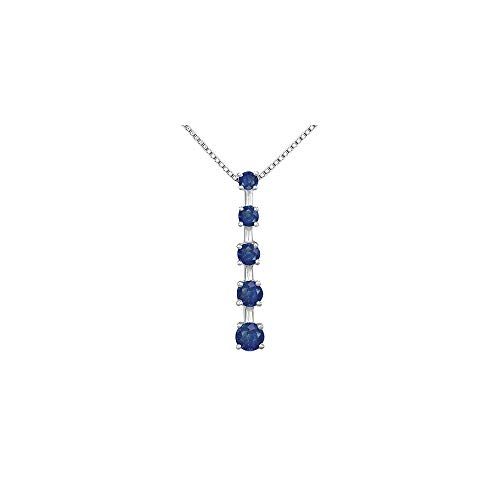(Blue Created Sapphire Journey Pendant 14K White Gold 1.00 CT TGW)