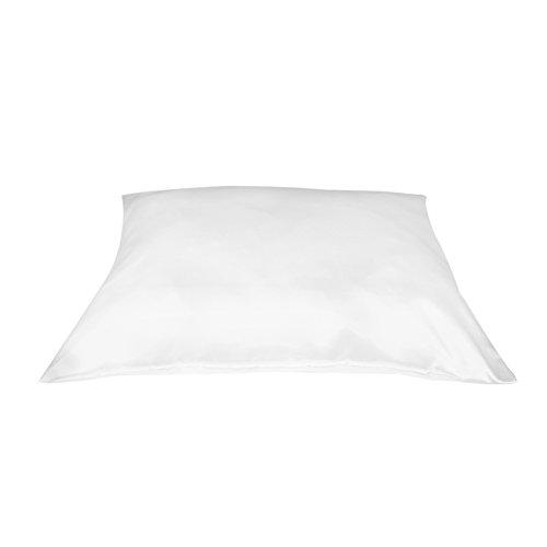 Betty Dain Satin Pillowcase with Zipper, Standard / Queen Size, White (Set of 2)