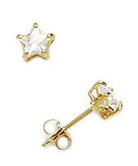 14 Karat (585) Gelbgold 4 x 4 mm Star CZ-Korb-Set Ohrringe JewelryWeb