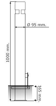 Pilona fija reforzada extra/íble.Kit 2 Bolardos de hierro con parte superior en acero inoxidable amovible de 95x1000 mm