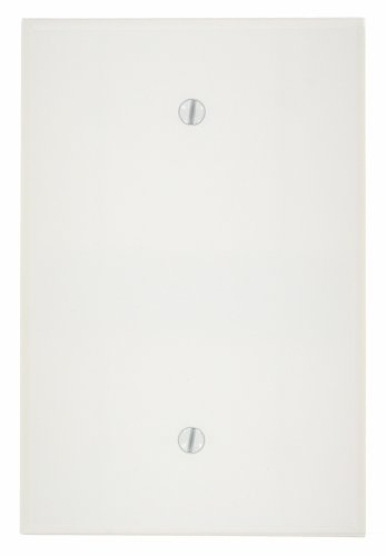Leviton 88114 002-000 1-Blank Oversized Wall Plate, 1 Gang, 5-1/4 in L X 3-1/2 in W 0.255 in T, Smooth, 1 pack, White