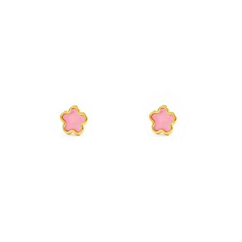 6fe81cb213eb De alta calidad Pendientes Oro Bebe o Niña Margarita esmalte rosa ...