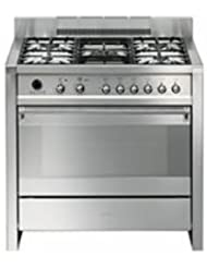 Smeg A1PXU 36 Freestanding Dual Fuel Cavity Opera Range with 3.2 cu. ft. Capacity 10 Cooking Modes Ever-Clean Enameled Oven Interior and 5 Gas Burners in Stainless