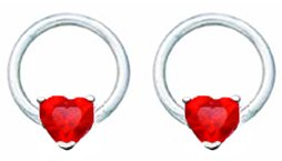 Pair of Ruby Red Prong set Heart Surgical Steel Captive bead Ring lip, belly, nipple, cartilage, tragus, earring body Jewelry piercing hoop - 14 gauge, 3/8