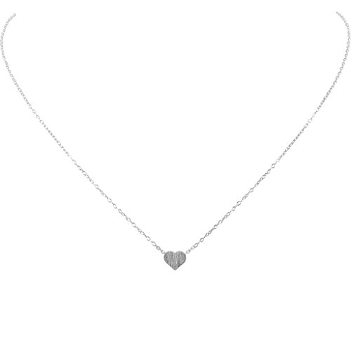 Humble Chic Tiny Heart Necklace - Delicate Dainty Pendant Chain Link Mini Charm, Silver-Tone (Silver Tone Charm Necklace)