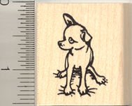 Small Sitting Chihuahua Rubber Stamp - Wood Mounted