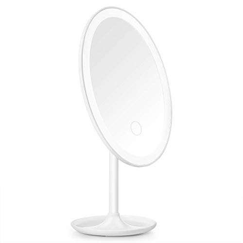 Beautural Oval Lighted Vanity Makeup Mirror with Rechargeable Natural White LED Daylight, Detachable/Storage Base, 3 Modes Touch Control, 360°Rotation and 1x Magnification Mirror