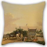 Artistdecor Oil Painting Joseph Stannard - Buckenham Ferry, On The River Yare, Norfolk Throw Cushion Covers 20 X 20 Inches / 50 By 50 Cm Best Choice For Couples,bar,home Theater,couples,bedding,div