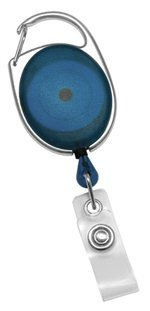 - Retracting ID Card/Badge Reel, Translucent BLUE, 30'' Retractable Nylon Cord, Carabiner Style (Sold Individually)
