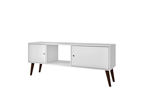 Manhattan Comfort Varberg TV Stand Collection Free Standing Contemporary TV Stand for Flat Screens with 3 Shelves and 2 Doors on Splayed Wooden Legs, ()