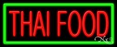 Thai Food Business Neon Sign - 13 x 32 x 3 inches - Made in USA by Bright Neon Signs