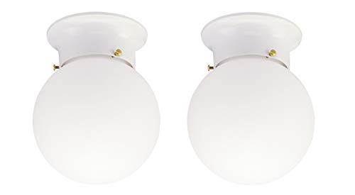 (Westinghouse One-Light Flush-Mount Interior Ceiling Fixture with Pull Chain, White Finish with White Glass Globe 2 pack (White 2 Pack))