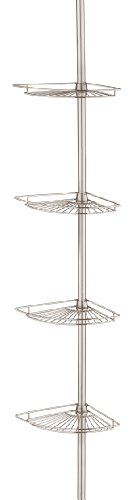 Taymor Satin Nickel Corner Shower Basket Tower with Tension Pole (Tension Tower)