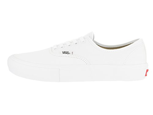 VANS Men's Authentic Pro Skate Shoes, Casual Low-Top Lace-Up in Sturdy Canvas Uppers for Comfort and Durability True White / True White