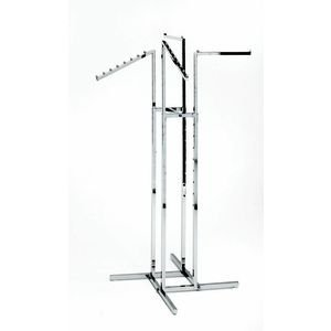 - Clothing Rack - Heavy Duty Chrome 4 Way Rack, Adjustable Arms, Square Tubing, Perfect for Clothing Store Display With 2 Straight Arms and 2 Slanted Arms, Takes Up Only 32 Inches of Floor Space