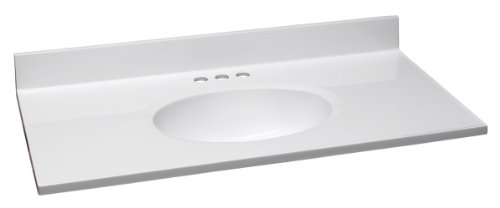 Design House 551341 37-Inch by 19-Inch Marble Vanity Top/Single Bowl, Solid White ()
