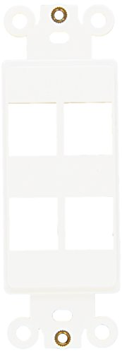 Morris 88118 Decorative DataComm Frame for Keystone Jack and Modular Inserts, 4 Ports, White