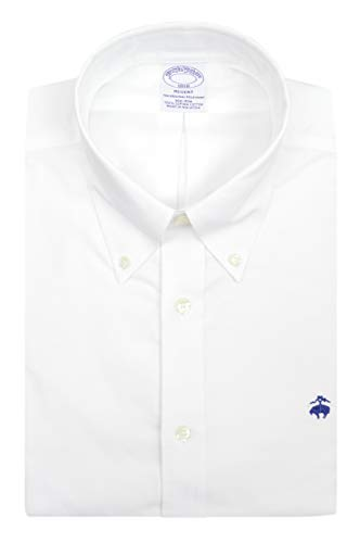 Brooks Brothers Mens Regent Fit All Cotton The Original Polo Button Down Oxford Shirt (M, White/Navy) from Brooks Brothers