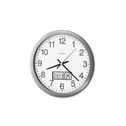 Howard Miller® Chronicle Wall Clock with LCD Inset, 14in, Gray, 1 AA Battery