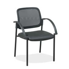 Lorell Guest Chairs, 24 by 23-1/2 by 32-3/4-Inch, Black Faux Leather Seat