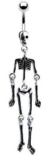 Skeleton 14g Navel Dangle Belly Ring (Skeleton Button)