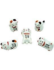 Popculta Cute Lucky Cat Chopsticks Rest Dinner Spoon Stand Knife Fork Holder (Set of 5)