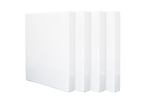 4 Pack 1'' 3-Ring Binders, Slant D Ring, Rugged Design for home, office, and school, holds up to 225 sheets of 8.5'' x 11'' paper, White, 4 (Open 3 Ring Binder)