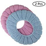 Warm Toilet Seat Covers - Cushioned Toilet Seat Cover Pads Bathroom Soft Fibers Thicker Warmer Stretchable Washable Lid Covers 2Pcs (Blue+Pink)