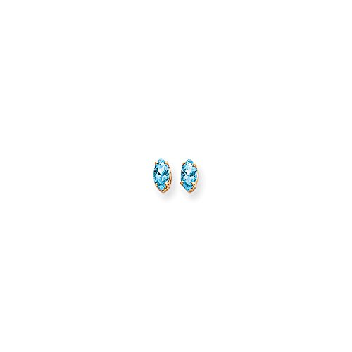 Perfect Jewelry Gift 14k 6x3mm Marquise Blue Topaz earring