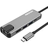 USB C Hub, USB C Adapter, Abonda 5 in 1 Multiport USB C Converter with to HDMI 4K, 2 USB 3.0 Ports, USB C Power Charging, 1000M Gigabit Ethernet for MacBook Pro 2016/2017, Google Chromebook
