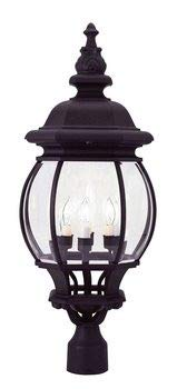 Livex Lighting 7703-04 Frontenac - Four Light Exterior Lantern, Black Finish with Clear Beveled Glass
