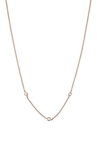 HONEYCAT Tiny Crystal Bezel Trio Necklace in 18k Rose Gold Plate | Minimalist, Delicate Jewelry (Rose Gold)