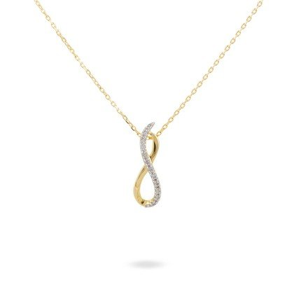 HISTOIRE D'OR - Collier Or Jaune Infini et Diamants 42cm - Femme - Or jaune 375/1000 - Taille Unique