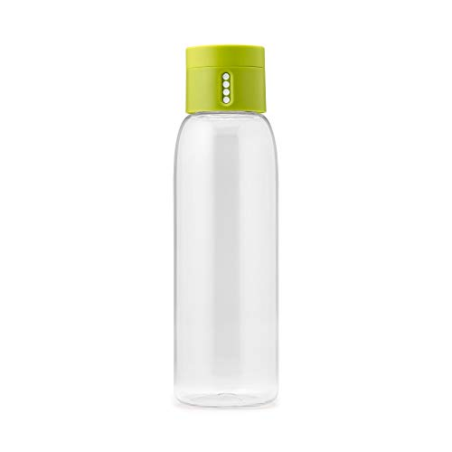 Joseph Joseph 81049 Dot Hydration-Tracking Water Bottle Counts Water Intake Tracks Consumption On Lid Twist Top, 20-ounce, Green
