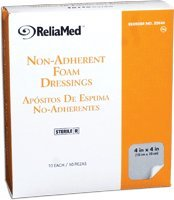 ReliaMed Sterile Latex-Free Non-Adherent Foam Dressing 4'' x 4''