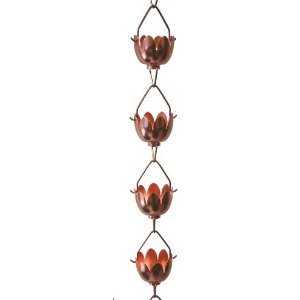 Stanwood Rain Chain Lotus Lily Flower Extension Copper Rain Chain, 4-Feet